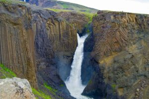 Litlanesfoss basalt column waterfall in East Iceland
