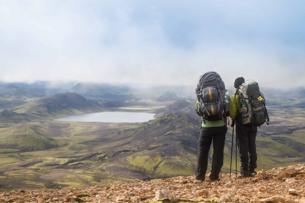 two people on the Laugavegur hiking trail in the highlands of Iceland