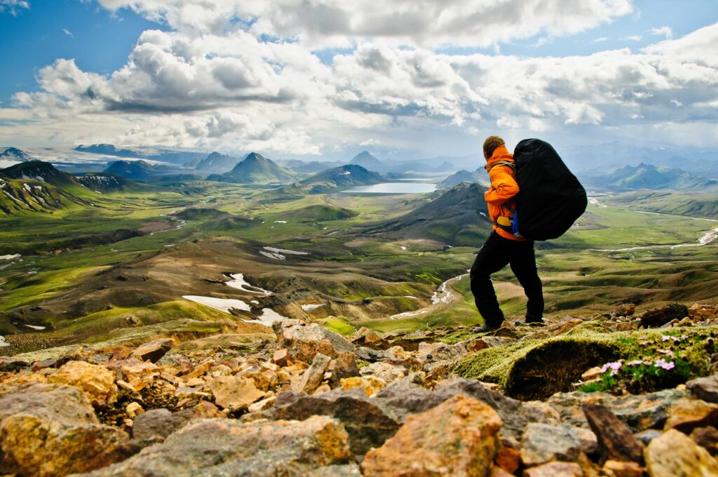 Laugavegur hiking trail in the highlands of Iceland