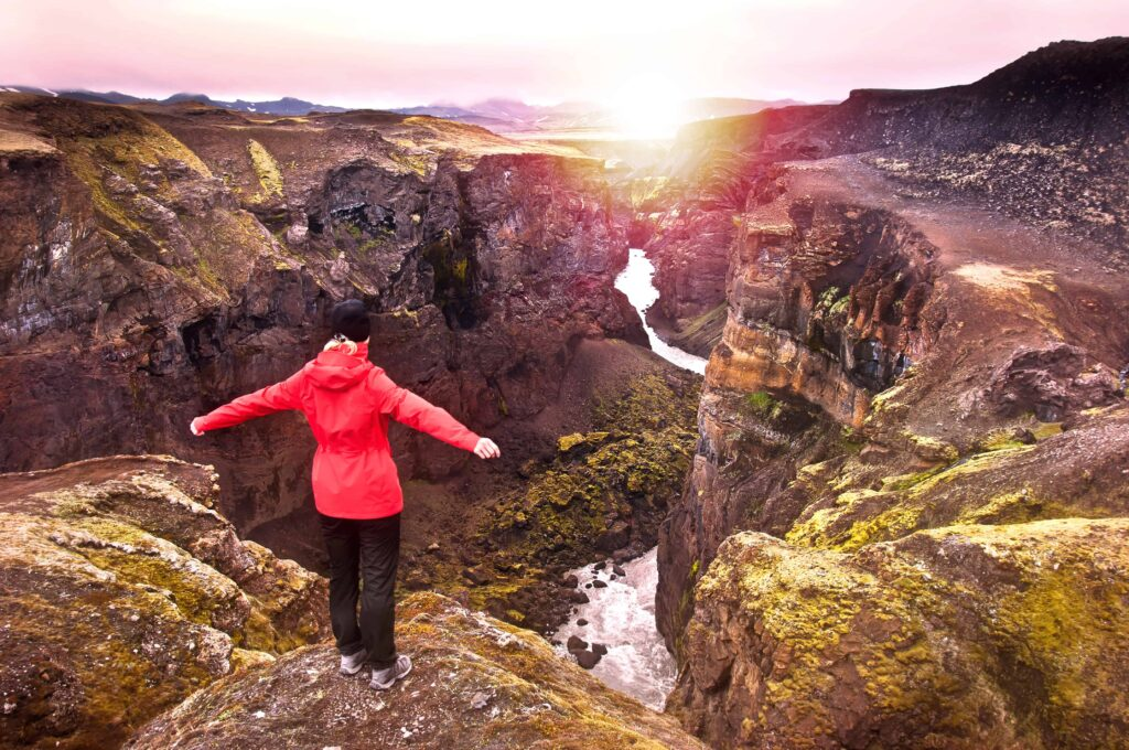 sunset at Laugavegur hiking trail in the highlands of Iceland