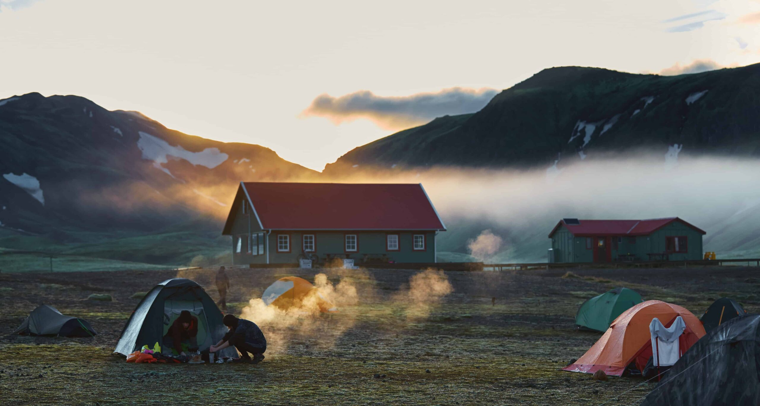 huts in the Laugavegur hiking trail in the highlands of Iceland