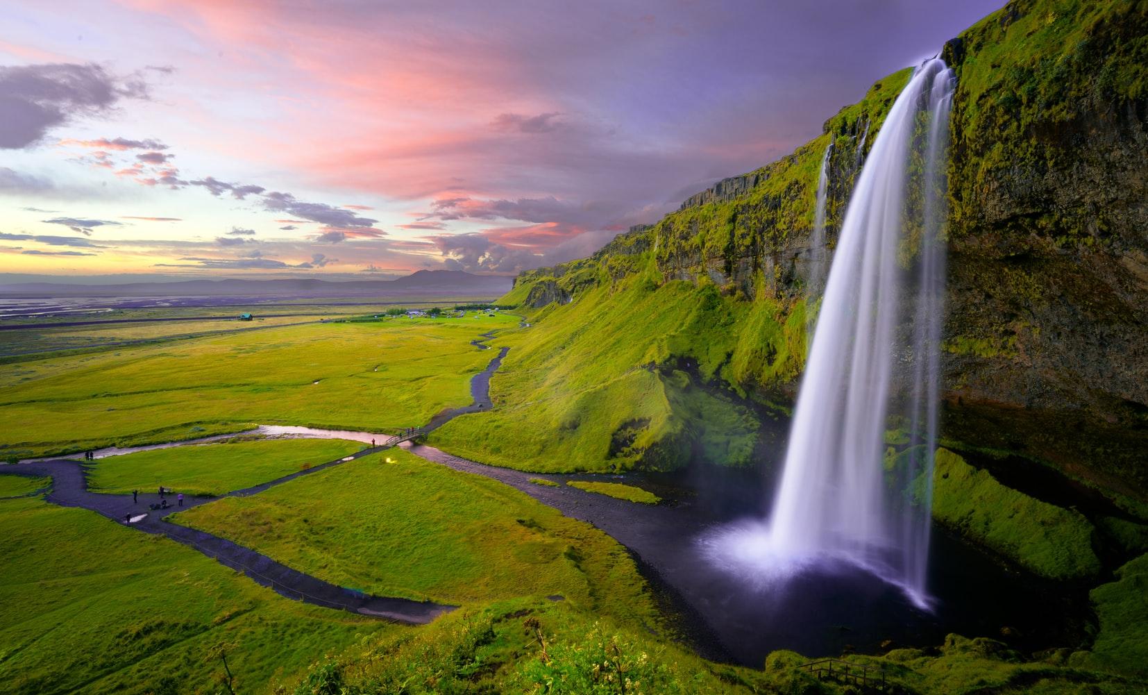 Seljalandsfoss waterfall on the south coast of Iceland