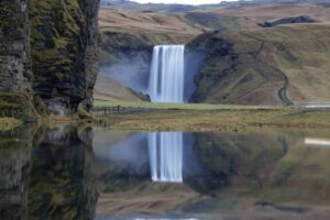 Skógafoss waterfall seen from the ring road in Iceland