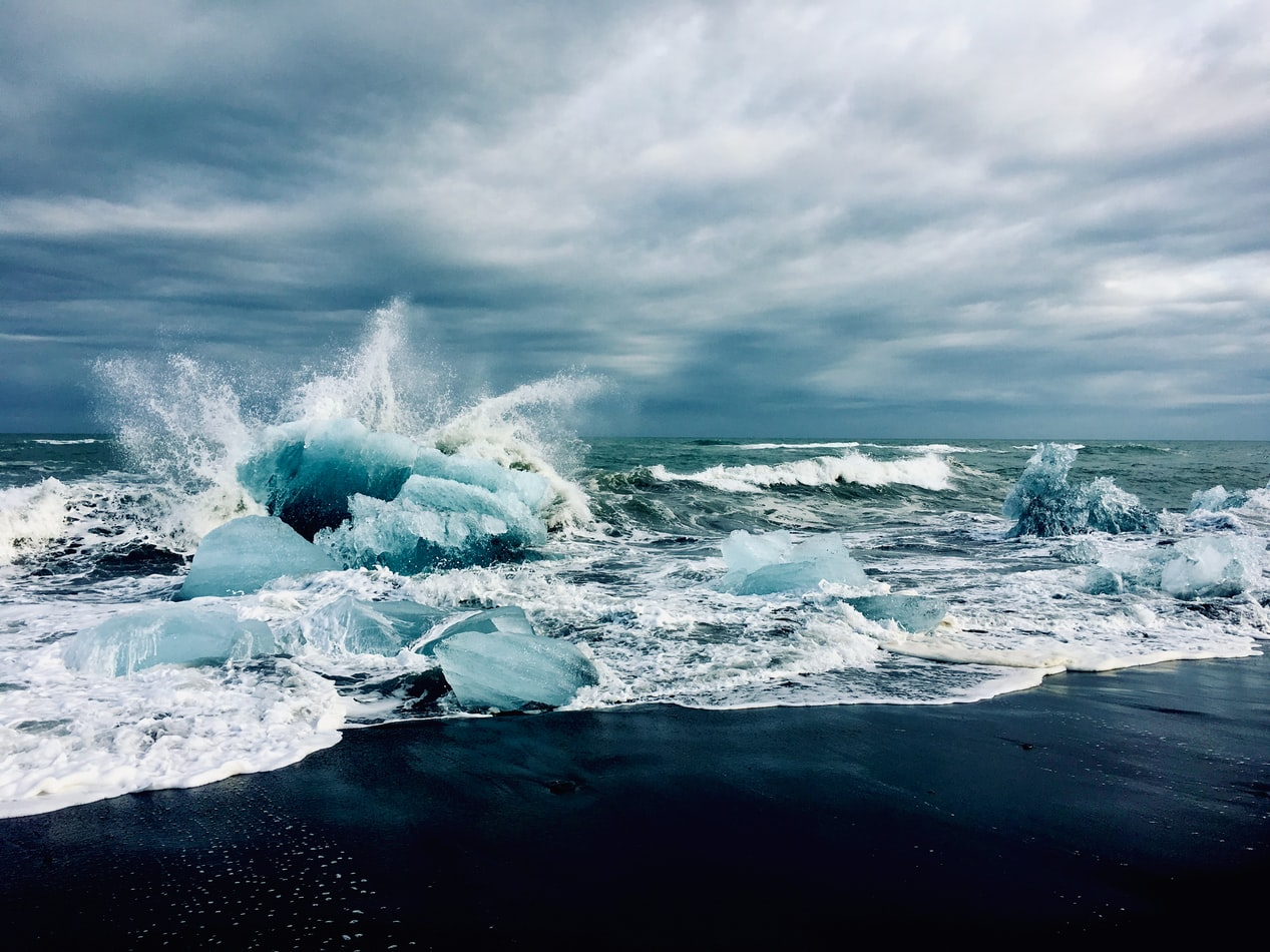 icebergs and sea on the Diamond Beach in south Iceland