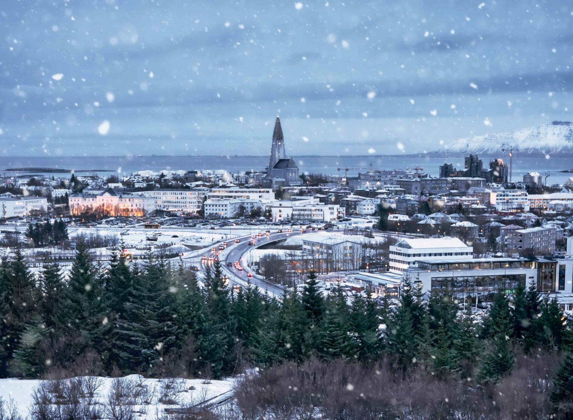 Winter in Reykjavik seen over Hallgrimskirkja church