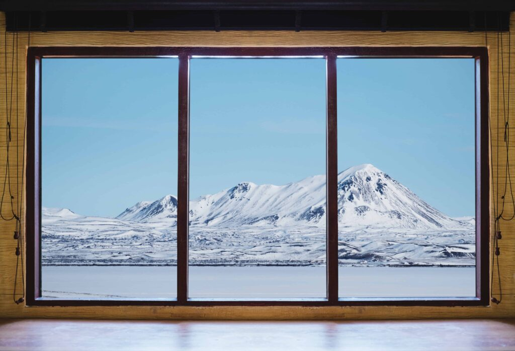 mountain seen out of a window in Iceland winter
