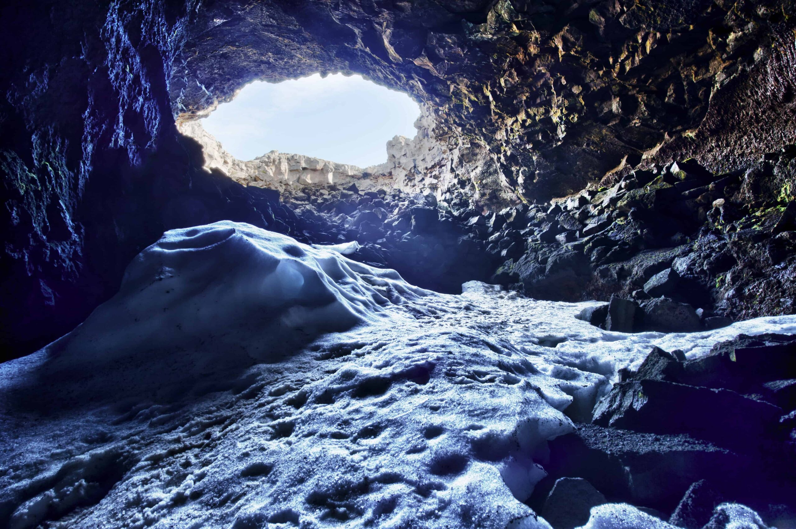 lava cave in Iceland with snow during winter