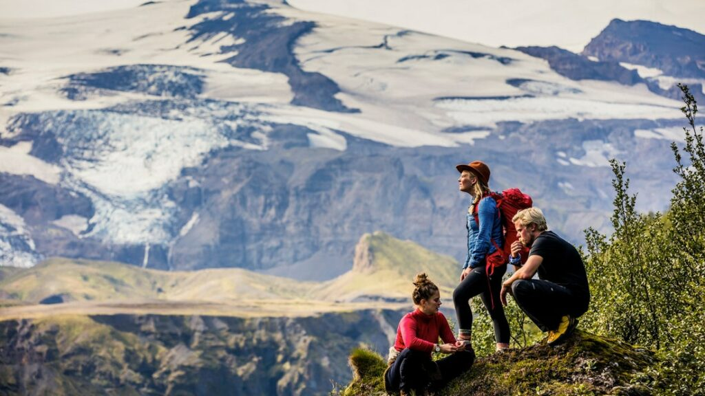 Travelers Hiking in Thorsmork in the highlands of Iceland