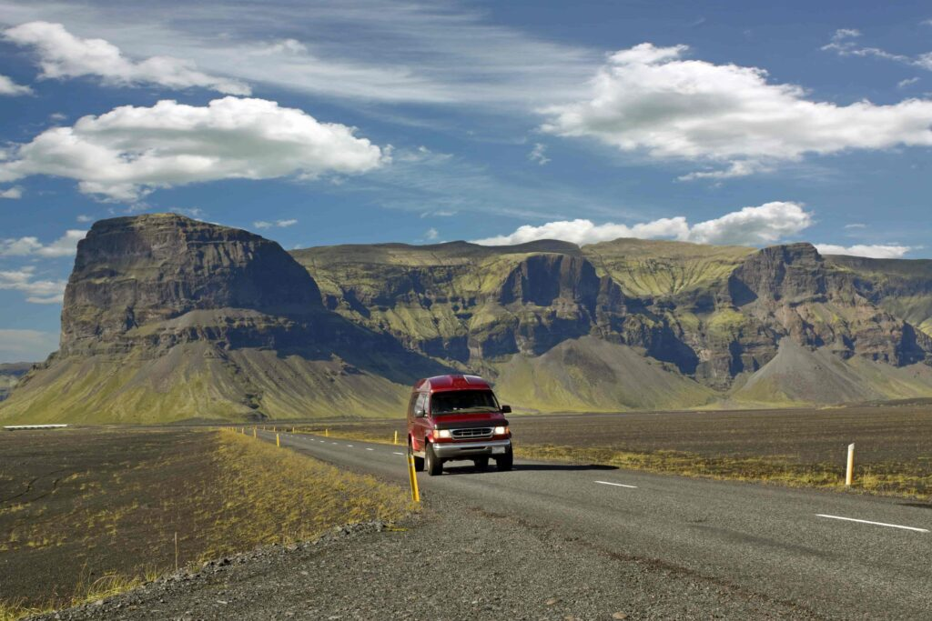 camper van driving in Iceland