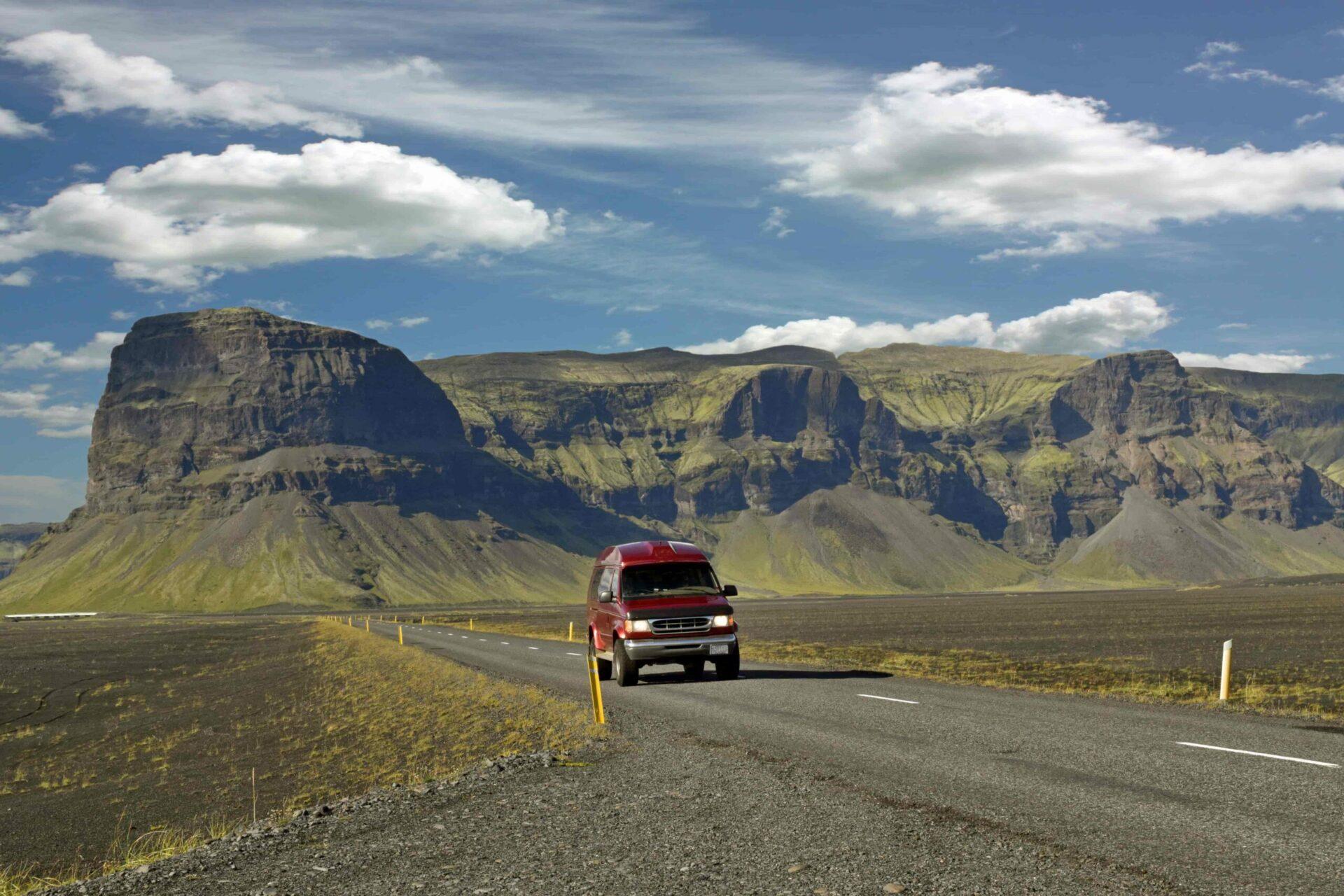 camper van driving in Iceland