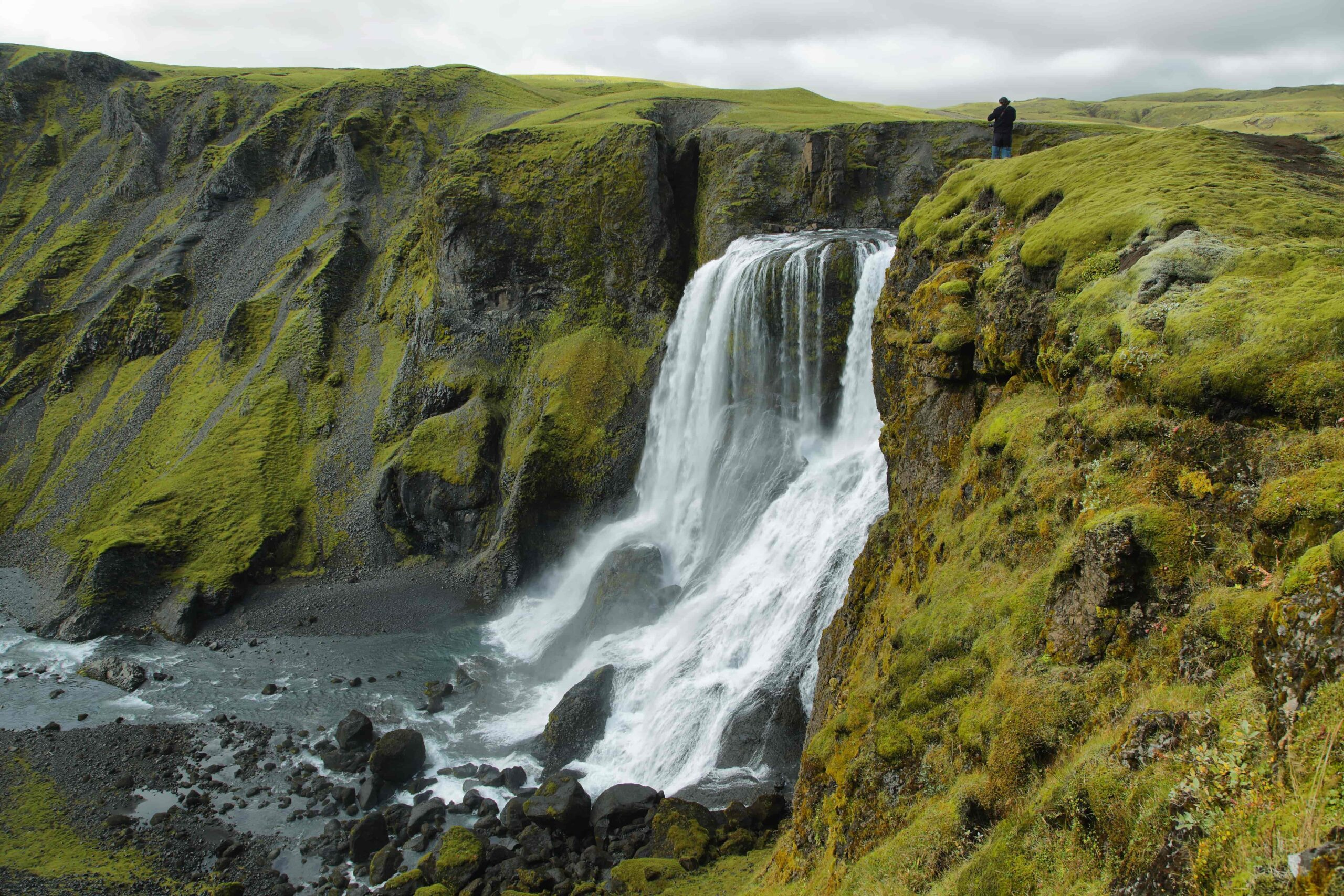 Fagrifoss waterfall in the highlands of Iceland