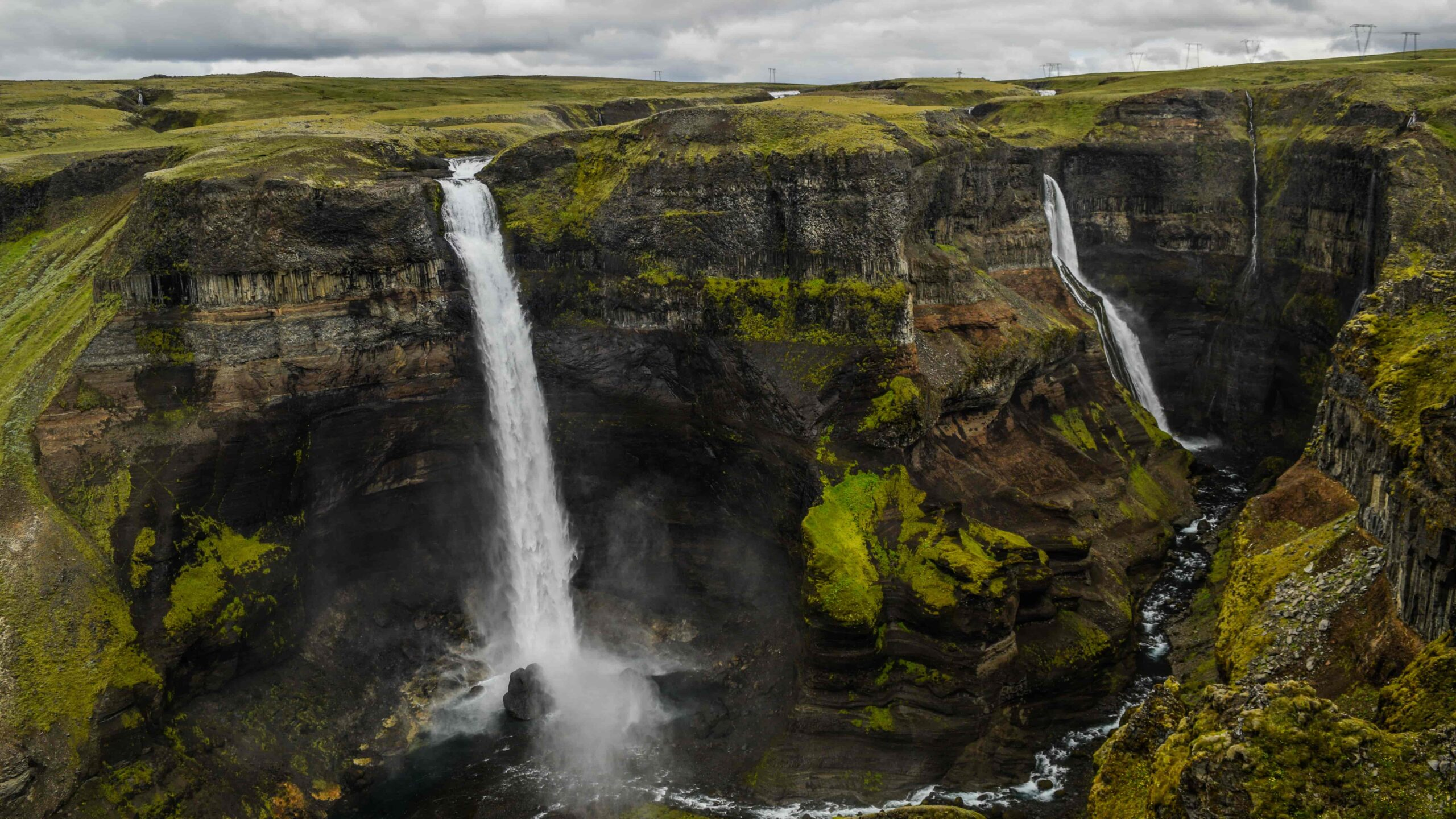 Háifoss and Granni waterfalls in Golden Circle Iceland