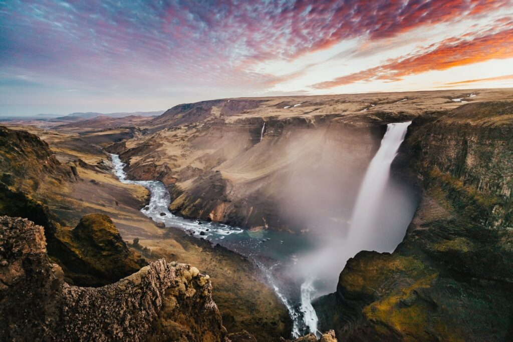 Háifoss waterfall in Golden Circle Iceland
