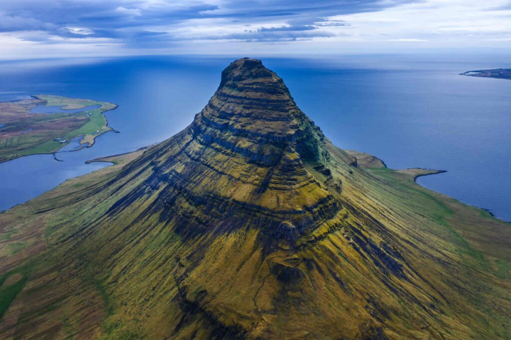 Kirkjufell mountain seen from above