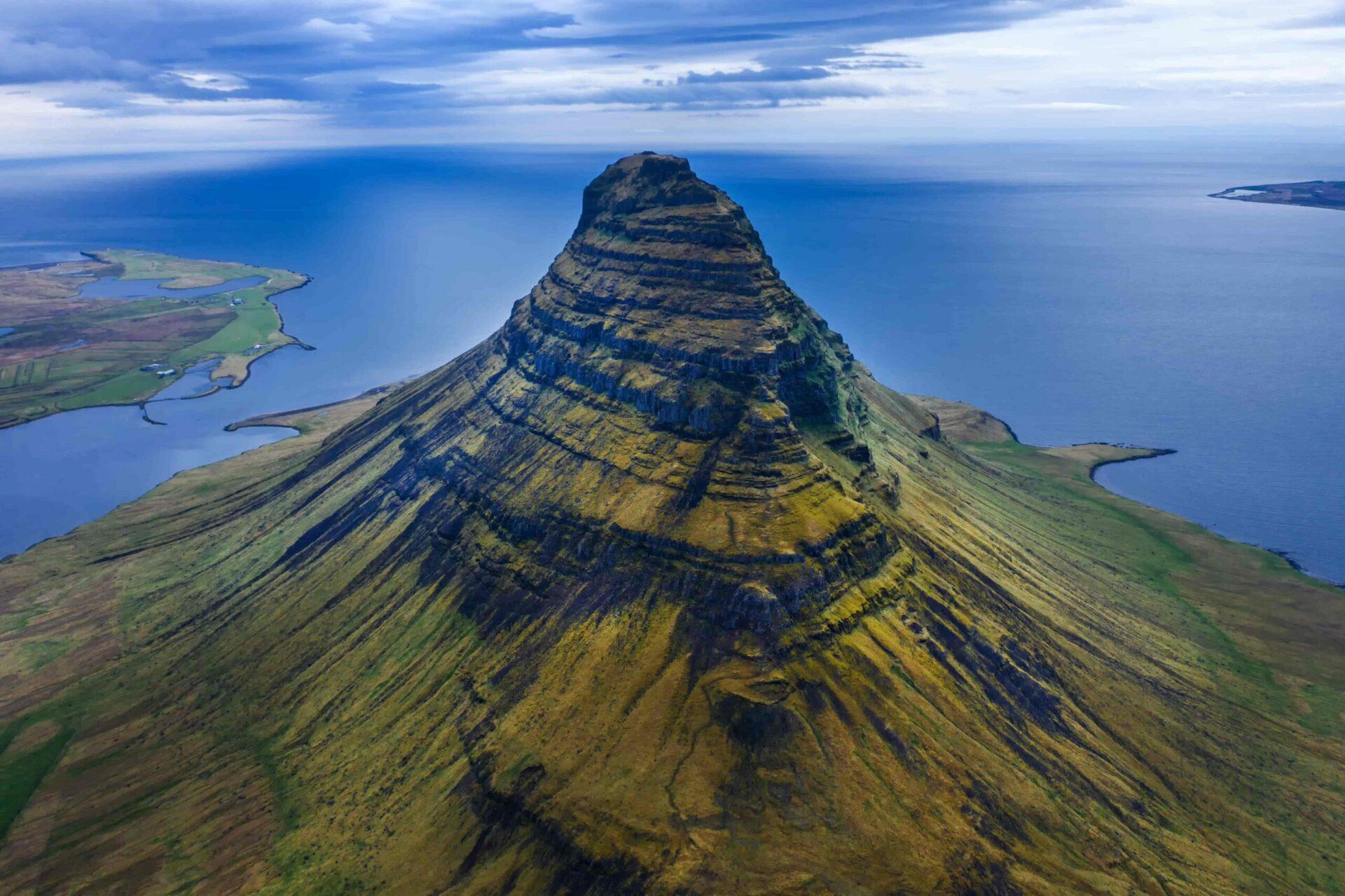 Kirkjufell mountain seen from above