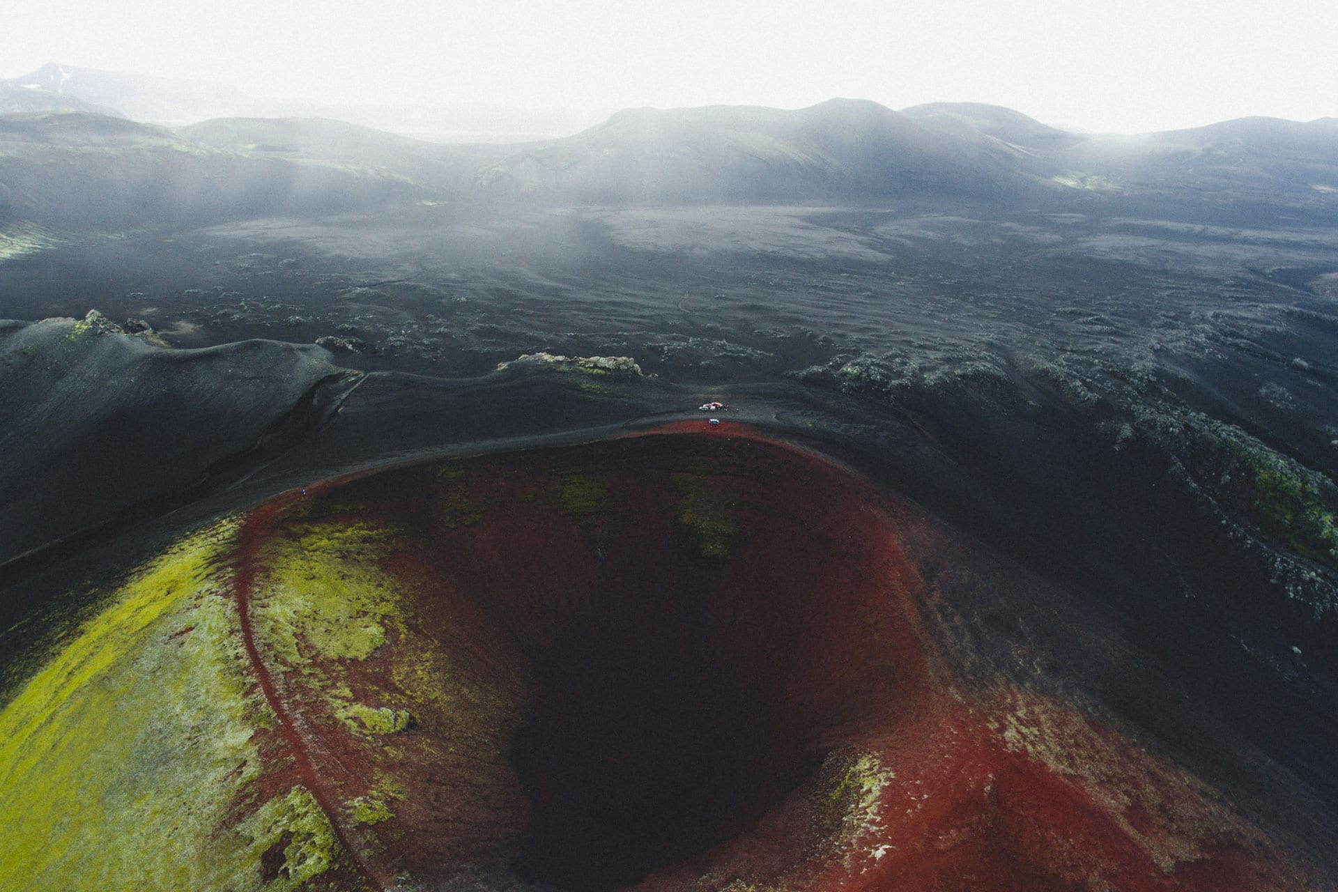 Aerial view over Crater in Landmannalaugar in the highlands of Iceland