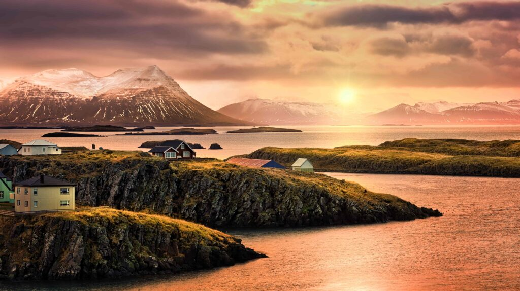 Sunset in Stykkisholmur village in Snæfellsnes Peninsula