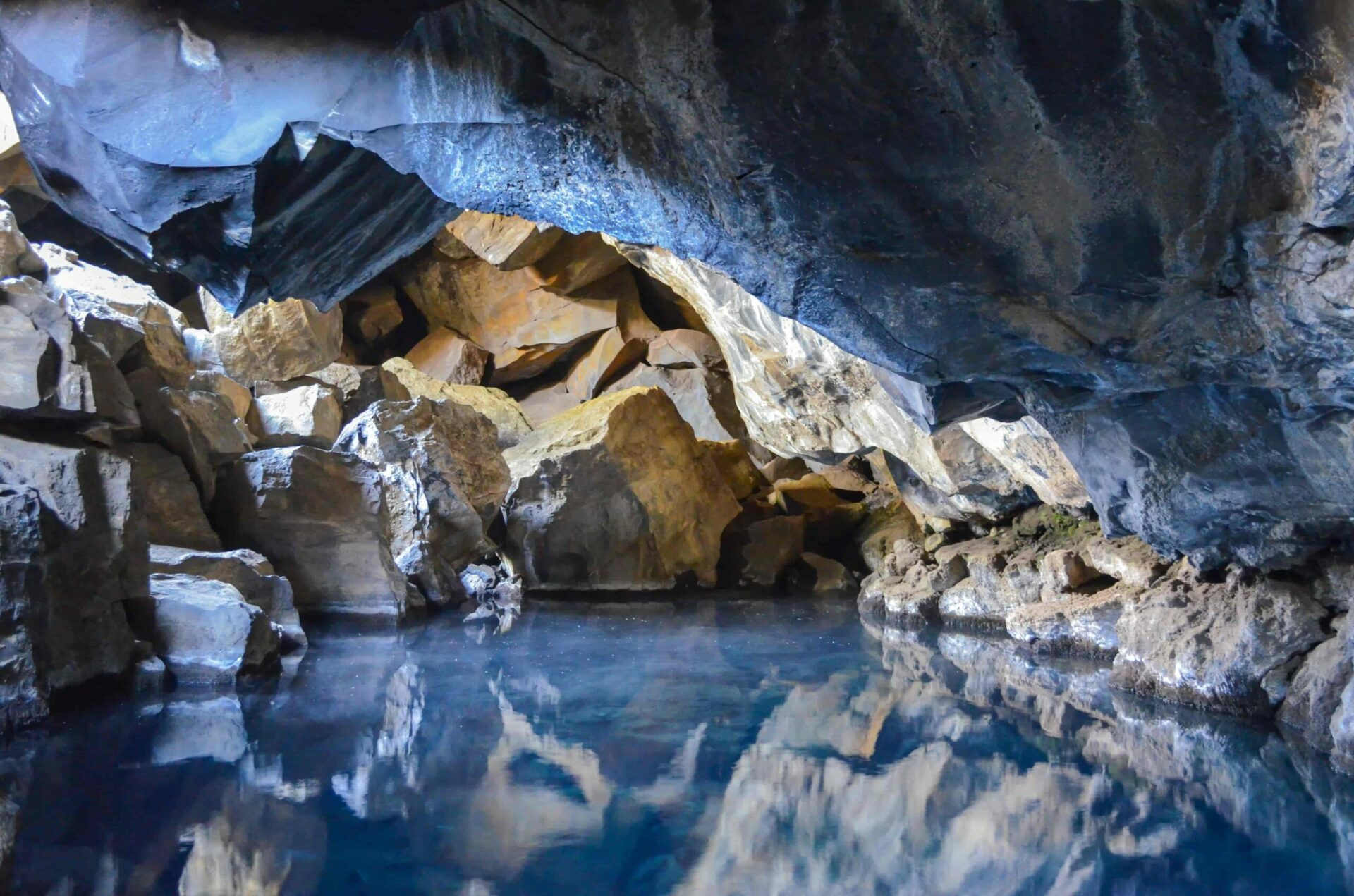 Grjótagjá hot spring cave in north Iceland