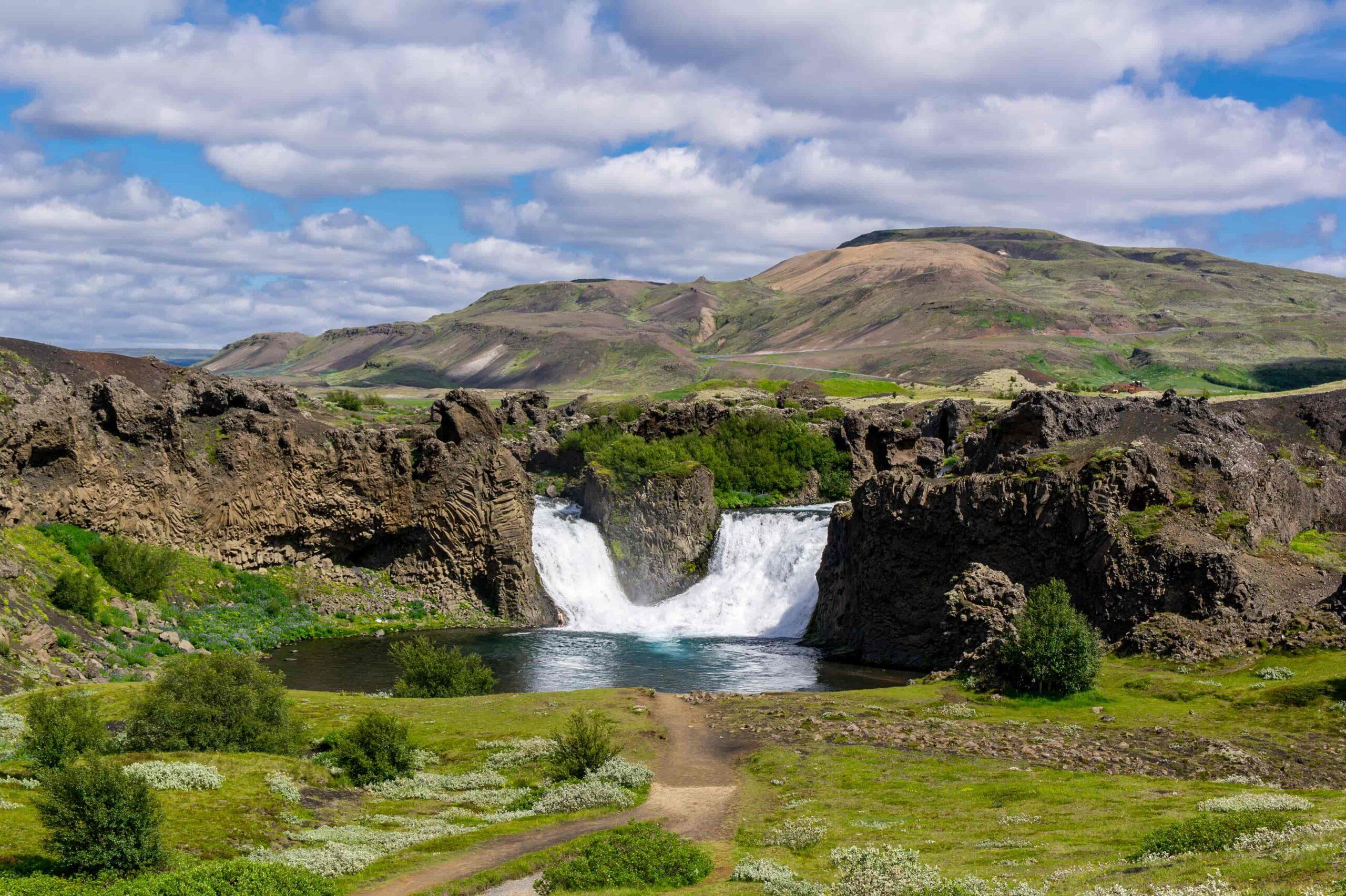 Hjálparfoss waterfall in the Golden Circle Highlands of Iceland