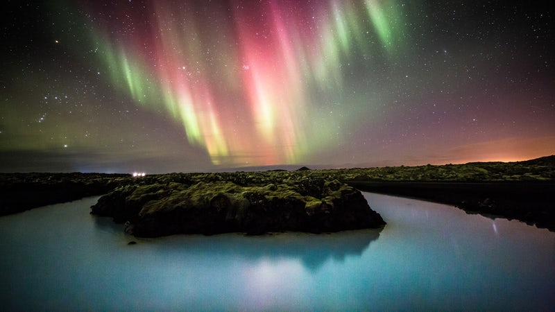 Northern lights at Blue Lagoon in Iceland