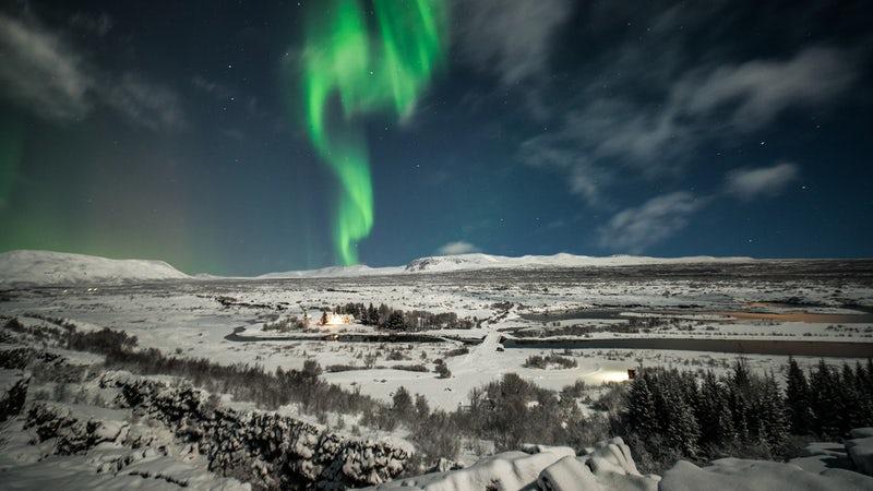 Northern Lights at Þingvellir National Park in Iceland