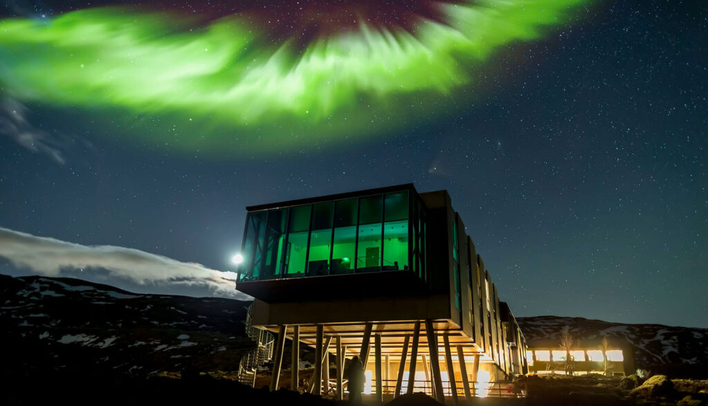 northern lights over Ion adventure hotel luxury hotel in the Golden Circle Iceland