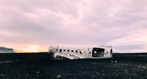 Solheimasandur plane wreck on Solheimasandur black sand beach in south Iceland