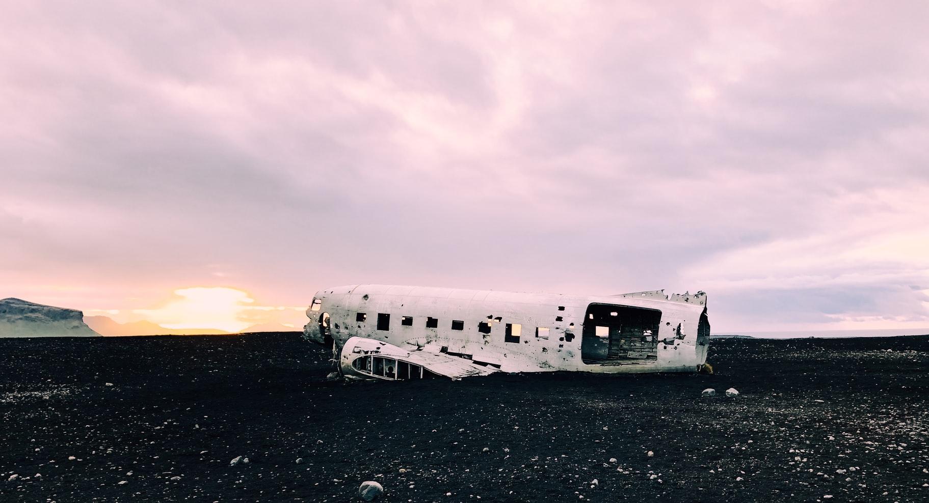 Solheimasandur plane wreck on Solheimasandur black sand beach in south Iceland