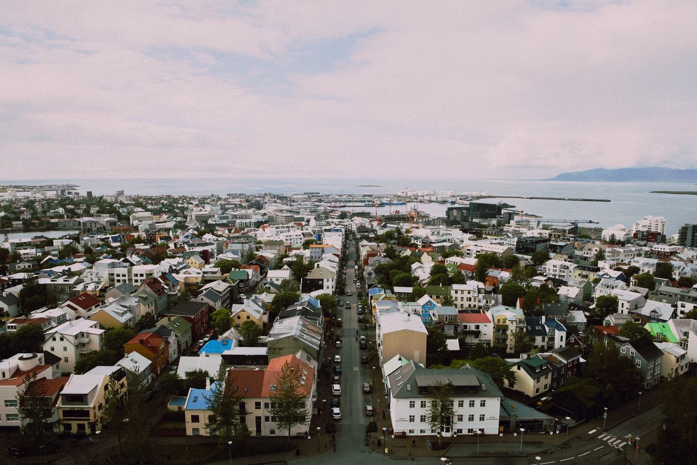 Downtown Reykjavik seen from Hallgrimskirkja church
