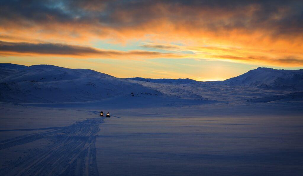 glacier snowmobile on Langjokull glacier