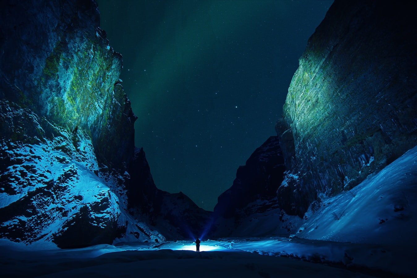 northern lights over Stakkholtsgja canyon during winter, game of thrones location in Iceland