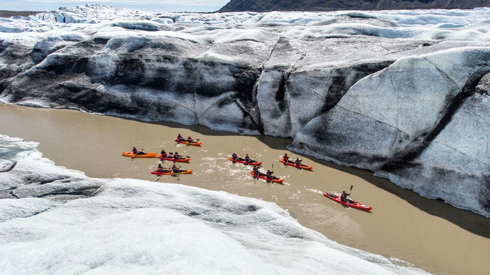 Glacier Kayaking Adventure at Heinabergslón glacier lagoon in south Iceland