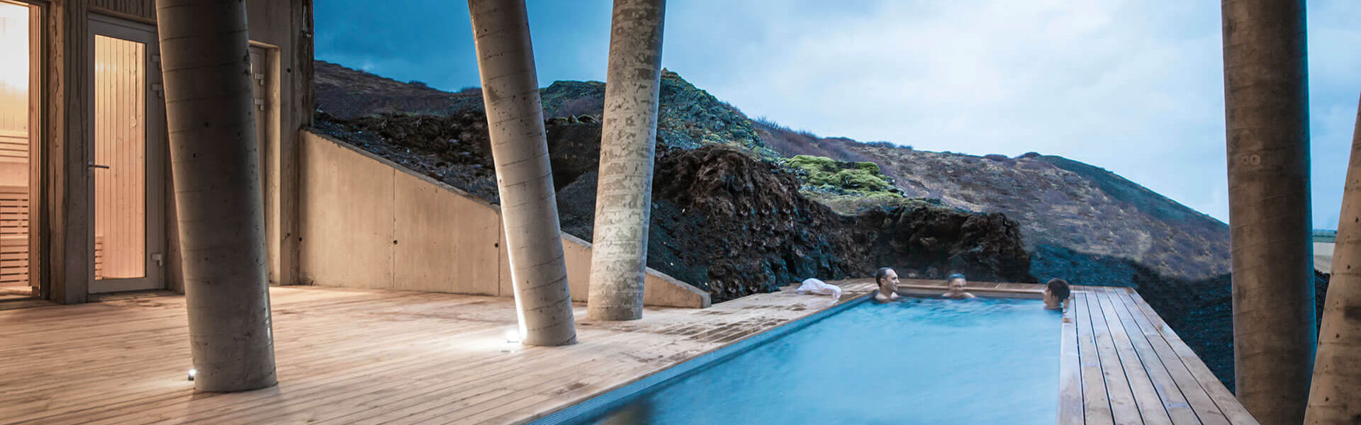 The lava spa outdoor swimming pool spa at northern lights over Ion adventure hotel luxury hotel in the Golden Circle Iceland