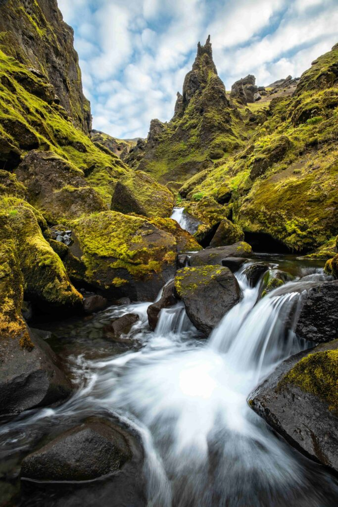 waterfall in Þakgil and Remundargil canyons in south Iceland