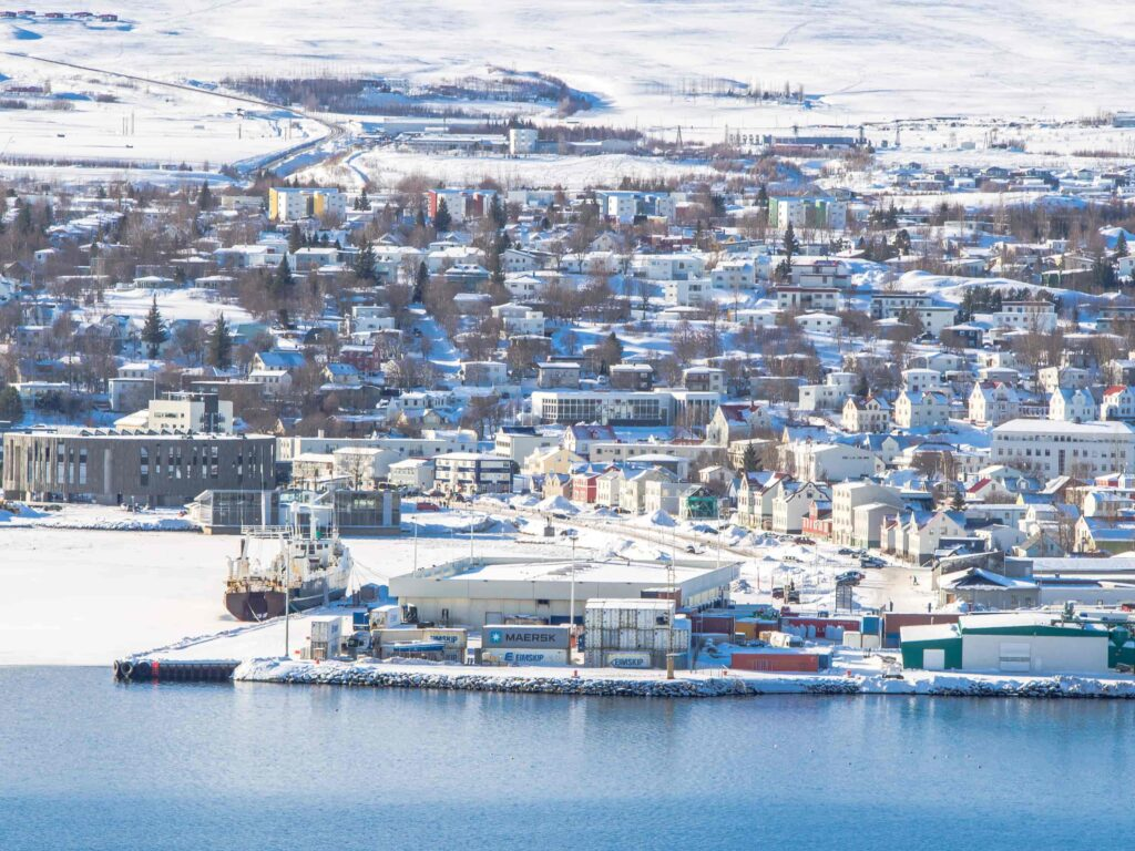 winter in Akureyri in northern Iceland, capital of North Iceland