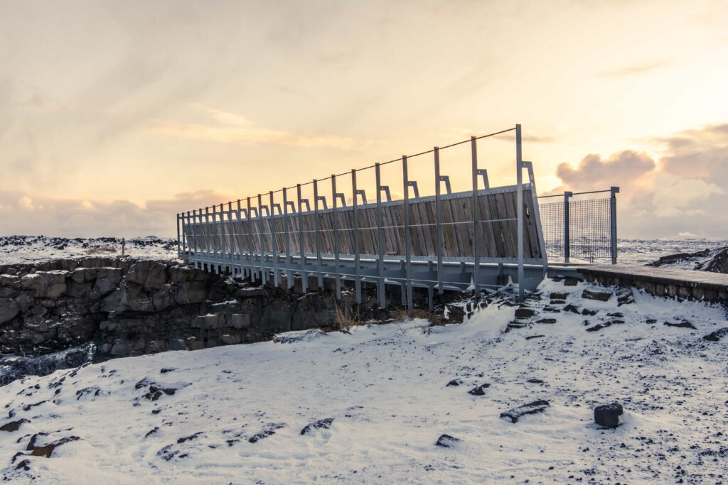Bridge between continents in Reykjanes Peninsula Iceland, bridge between North America and Europe in Iceland