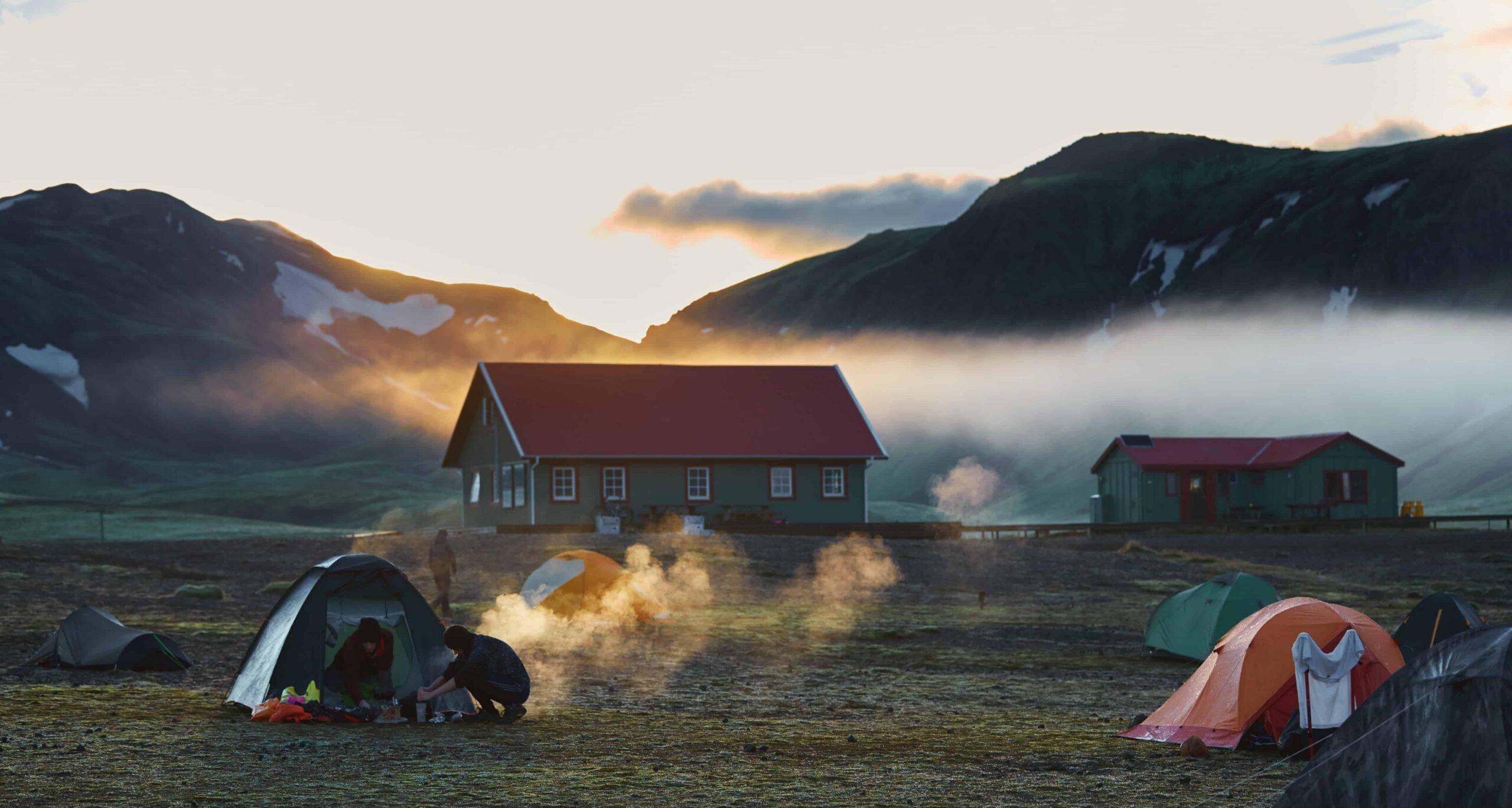 Laugavegur campsite in the highlands of Iceland
