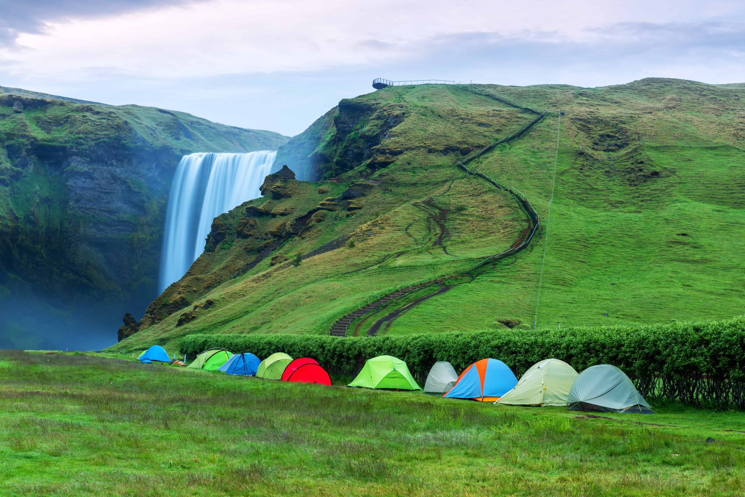 camping at Skógafoss waterfall in south Iceland