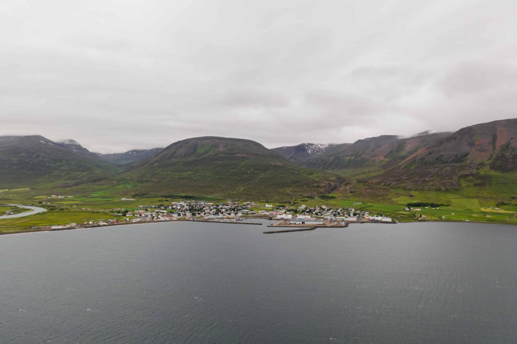 Dalvík village in north Iceland seen from above