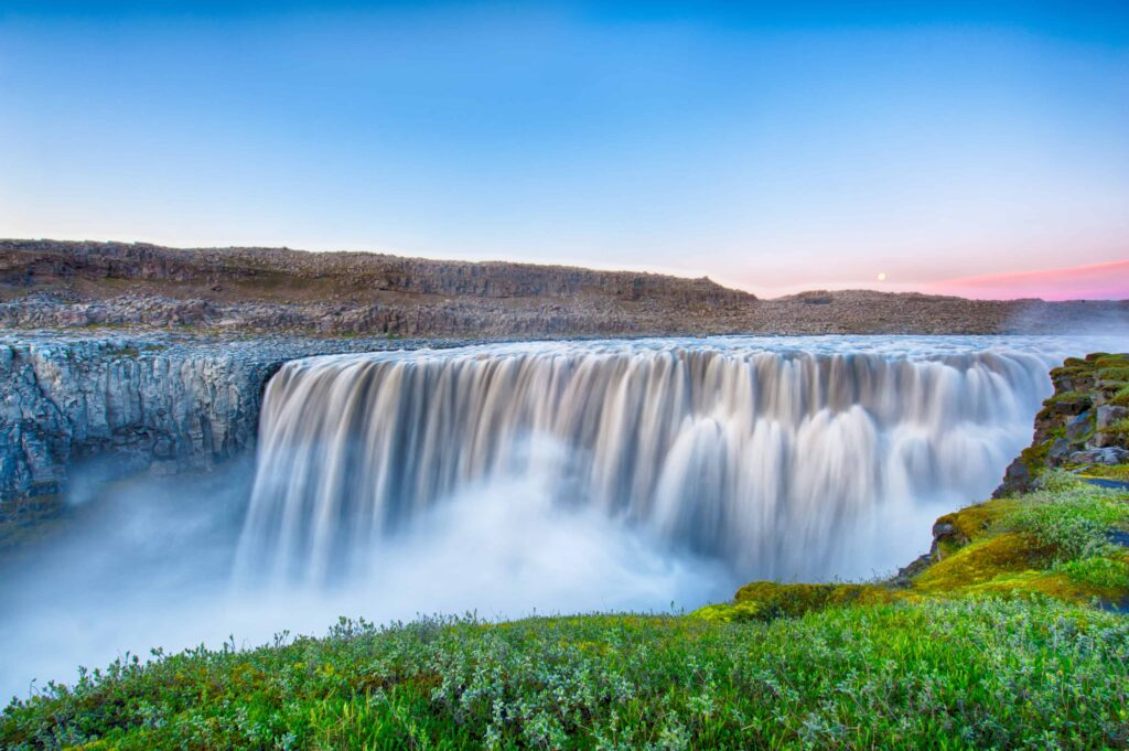 Dettifoss the most powerful waterfall in Europe during summer