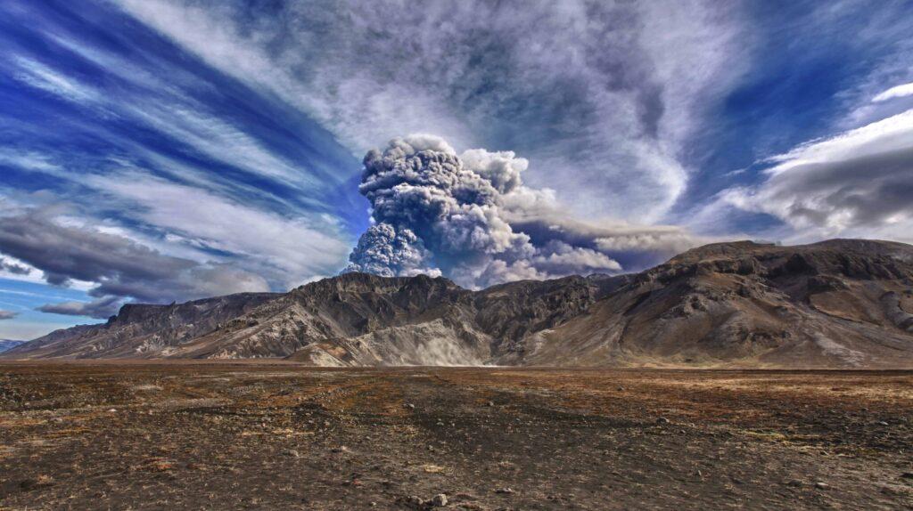 Eyjafjallajokull volcano erupting in 2010
