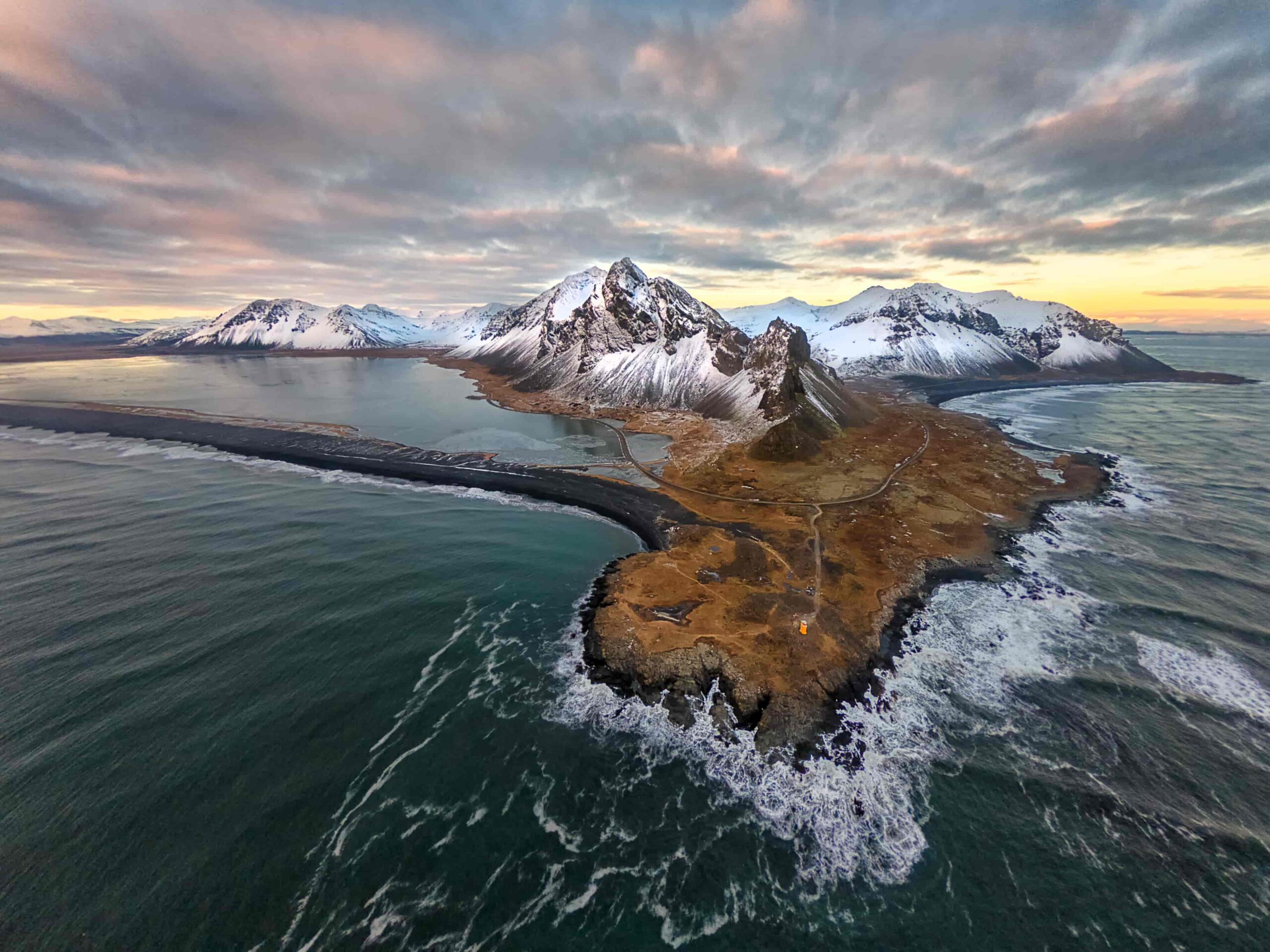 drone shot of Eystrahorn mountain in East Iceland