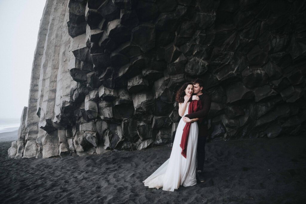 wedding photo shoot at Reynisfjara black sand beach in Iceland