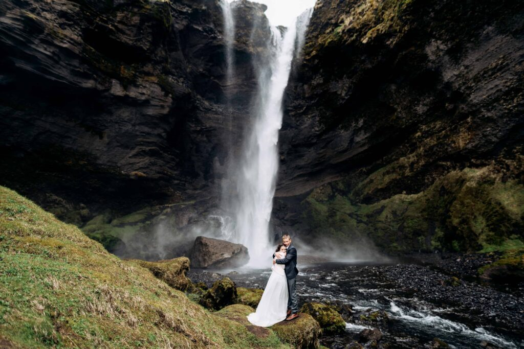 wedding photo shoot at Kvernufoss waterfall in Iceland
