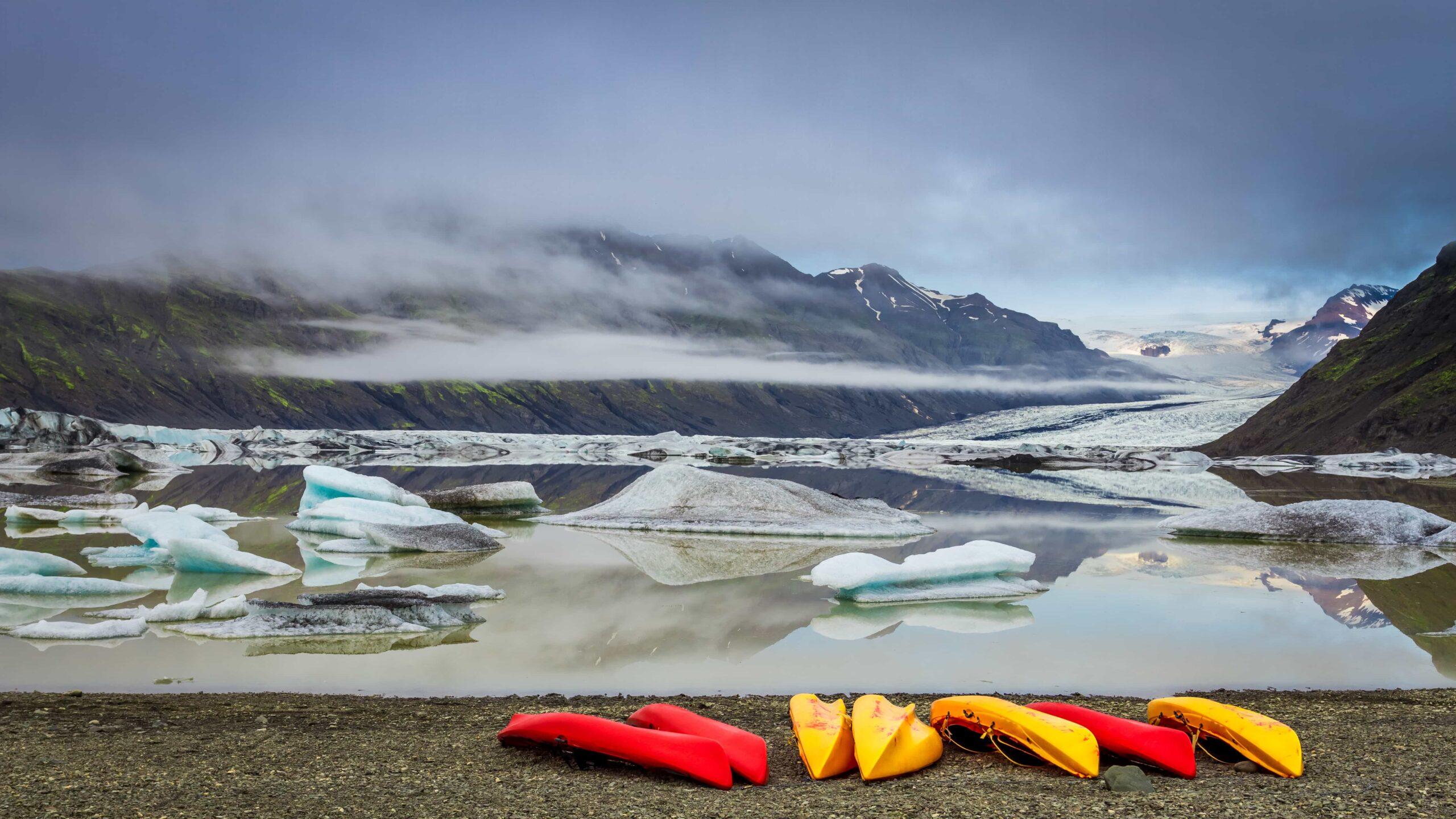 kayaks at Jokulsarlon glacier lagoon