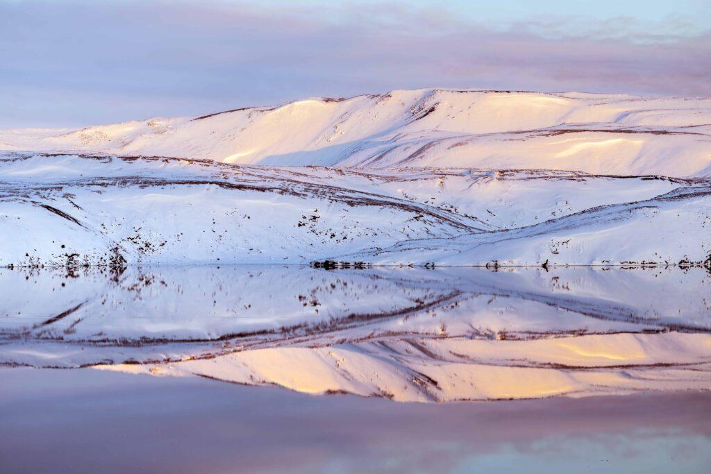 winter and snow at Kleifarvatn Lake in Reykjanes Peninsula Iceland