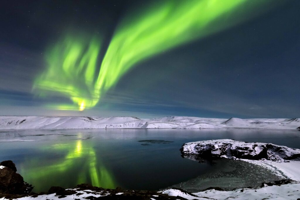 northern lights over Kleifarvatn Lake in Reykjanes Peninsula Iceland