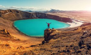 Krafla crater in north Iceland