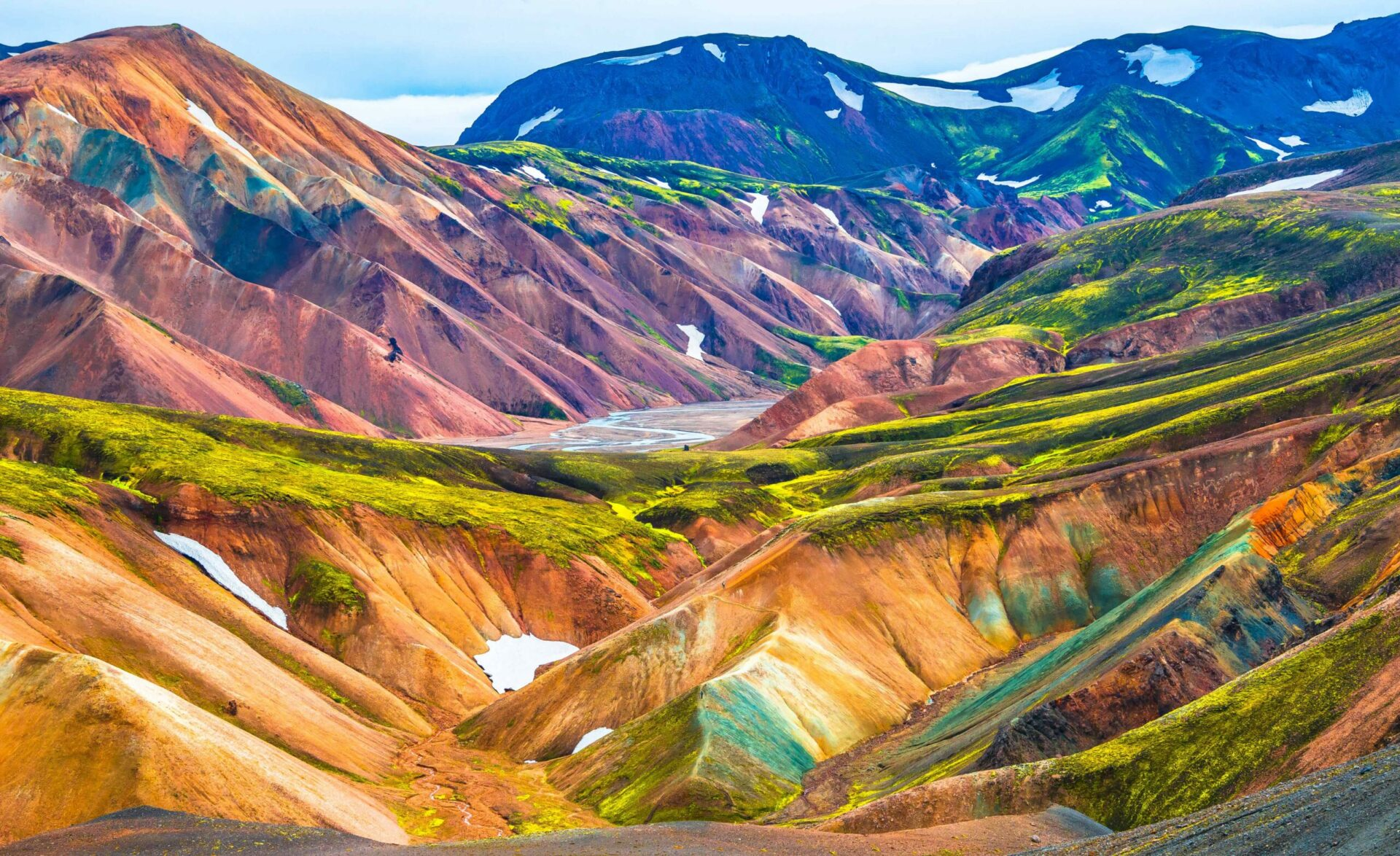 Colorful hills in Landmannalaugar in the highlands of Iceland, Brennisteinsalda Mountain in Landmannalaugar