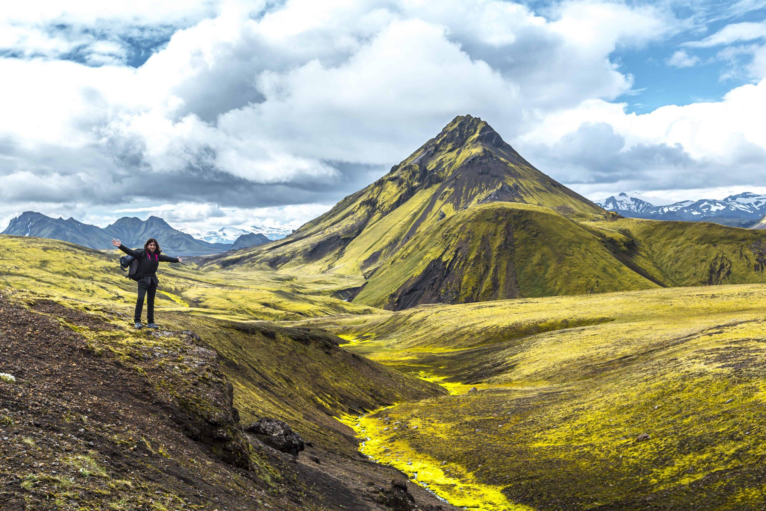 people hiking in Landmannalaugar the highlands of Iceland
